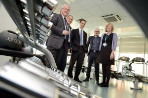 In shape – (from left) Ralph Wrighton, Sarah Jones and Neil Williamson of Ward Hadaway with Paul Humble of Turner & Townsend and Sunderland College Director of Facilities Karen Wade inspecting the fitness suite at the new Bede Campus at Sunderland College
