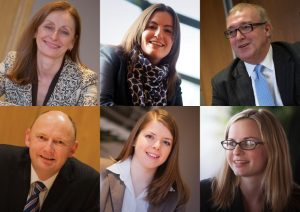 Winning team – members of the Banking and Finance team at Ward Hadaway (clockwise, from top left) Julie Harrison, Imogen Holland, Mark Smith, Rosemary Curry, Tessa Petrides and Simon Errington