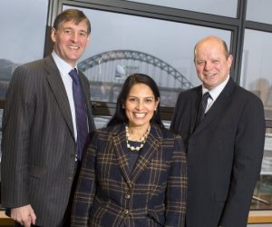 Ministerial visit – Exchequer Secretary of the Treasury Priti Patel MP (centre) at Ward Hadaway's offices with the firm's Head of Commercial Colin Hewitt (right) and James Ramsbotham, chief executive of the North East Chamber of Commerce.