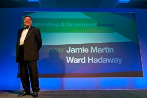 Worthy winner – Ward Hadaway Managing Partner Jamie Martin wins the Outstanding Achievement Award at the Northern Law Awards.