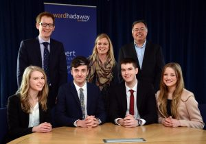New generation – (seated, from left) Newcastle University law students Celia Johnson-Morgan, Matthew Timm, Alexander Kidd and Kelly McFarlane with (standing, from left) Jamie Gamble of Ward Hadaway, Bronwen Jones of Newcastle University and Ward Hadaway Managing Partner Jamie Martin.