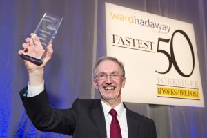 Prime mover – Terry Dunn, Chief Executive of ESP Systex Group, celebrates winning the fastest growing large business and fastest growing overall business at the Yorkshire Fastest 50 Awards 2016.