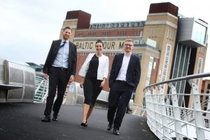 Network backing – Richard Urron of RSM (left) with Steven Roper of Ward Hadaway (right) and Adele Kalow of Gateshead Business Network.